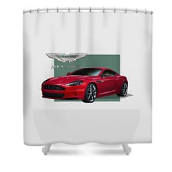 Aston Martin  D B S  V 12  With 3 D Badge  Shower Curtain
