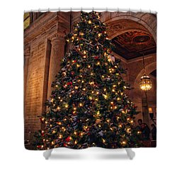 Shower Curtain featuring the photograph Astor Hall Christmas by Jessica Jenney