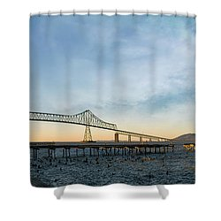 Astoria Megler Bridge By Riverwalk Panorama Shower Curtain