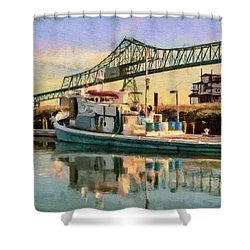 Shower Curtain featuring the painting Astoria Waterfront, Scene 1 by Jeff Kolker