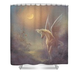 Astral Pegasus Shower Curtain by Jack Shalatain