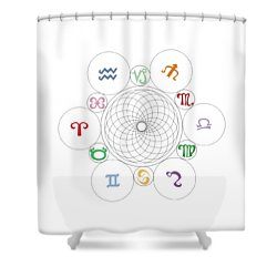 Astrological Sacred Geometry Image Shower Curtain by Shelley Overton