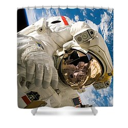 Astronaut During The Third Spacewalk Of Sts-121 Shower Curtain