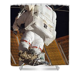 Astronaut Installs Stabilizers Shower Curtain by Stocktrek Images
