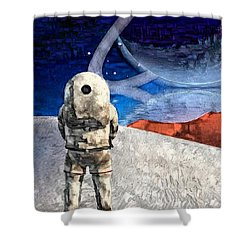 Astronaut On Exosolar Planet Shower Curtain