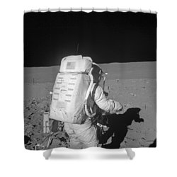 Astronaut Walking On The Moon Shower Curtain by Stocktrek Images