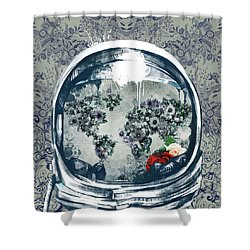 Astronaut World Map 5 Shower Curtain by Bekim Art