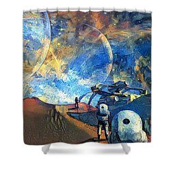 Astronauts On A Red Planet Shower Curtain