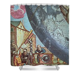 Astronomers Looking Through A Telescope Shower Curtain by Andreas Cellarius