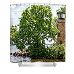 Asylum Point Lighthouse 1 Shower Curtain