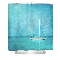 Shower Curtain featuring the mixed media At Anchor by Betty LaRue