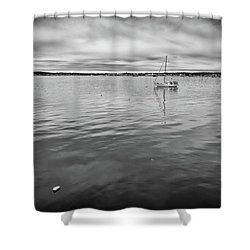 Shower Curtain featuring the photograph At Anchor In The Harbor by Rick Berk