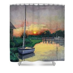 Shower Curtain featuring the painting At Ease Sold by Nancy Parsons