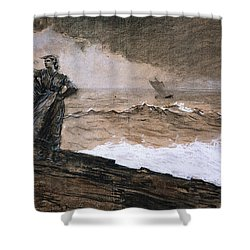 At High Sea Shower Curtain by Winslow Homer