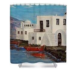 Shower Curtain featuring the painting At Home In Greece by Marilyn  McNish