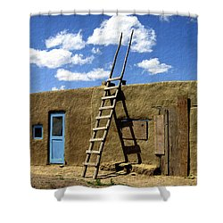 At Home Taos Pueblo Shower Curtain by Kurt Van Wagner