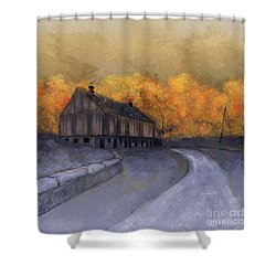 Shower Curtain featuring the digital art At Just Dawn by Lois Bryan