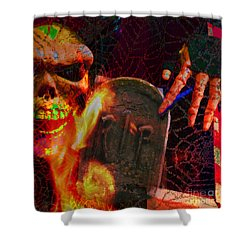 At Night In The Graveyard Shower Curtain