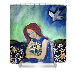 Shower Curtain featuring the painting At Peace by Winsome Gunning