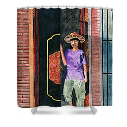 Shower Curtain featuring the painting At Puri Kelapa by Melly Terpening