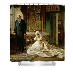 At The Altar Shower Curtain by Firs Sergeevich Zhuravlev