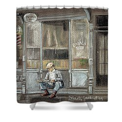 At The Barber Shop Shower Curtain by Marty Garland