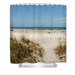 On The Beach Shower Curtain by Amar Sheow