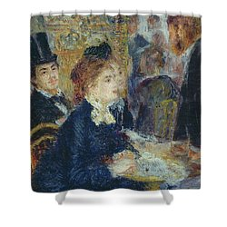 At The Cafe Shower Curtain by Pierre Auguste Renoir