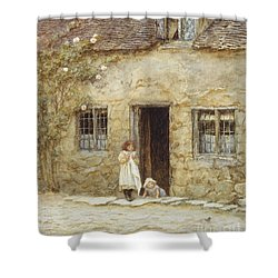 At The Cottage Door Shower Curtain by Helen Allingham