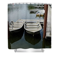 At The Dock Shower Curtain by Kathie Chicoine
