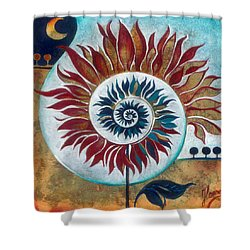 Shower Curtain featuring the painting At The Edge Of Day And Night by Anna Ewa Miarczynska