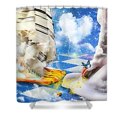 At The Feet Of Jesus Shower Curtain by Dolores Develde