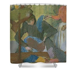 At The Hat Maker Shower Curtain by Edgar Degas
