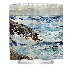 At The Rocks Shower Curtain by Monte Toon