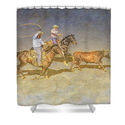 At The Rodeo Team Calf Roping Shower Curtain