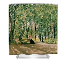 At The Summer Cottage Shower Curtain by Ivan Ivanovich Shishkin