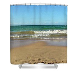 Atardecer Playa El Ultimo Trolly Tranvia Shower Curtain