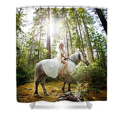 Shower Curtain featuring the photograph Athena's Clearing by Dario Infini