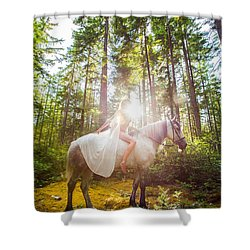 Shower Curtain featuring the photograph Athena's Radiance by Dario Infini