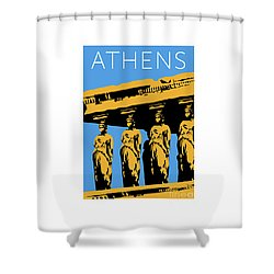 Athens Erechtheum Blue Shower Curtain