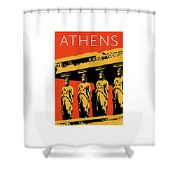 Athens Erechtheum Orange Shower Curtain