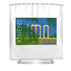 Athens Temple Of Olympian Zeus - Blue Shower Curtain