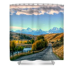 Atherton View Of Tetons Shower Curtain by Charlotte Schafer