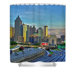 Shower Curtain featuring the photograph Atlanta Coca-cola Sunset Reflections Art by Reid Callaway
