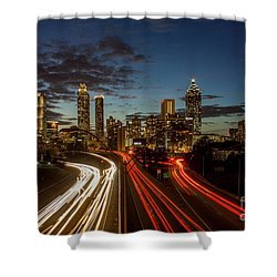 Shower Curtain featuring the photograph Atlanta Downtown Infusion Atlanta Sunset Cityscapes Art by Reid Callaway