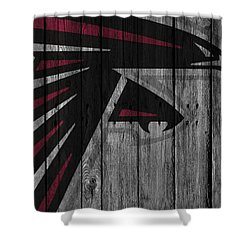 Atlanta Falcons Wood Fence Shower Curtain by Joe Hamilton