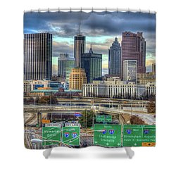 Shower Curtain featuring the photograph Atlanta Moving On Skyline Cityscape Art by Reid Callaway