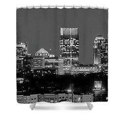 Atlanta Skyline At Night Downtown Midtown Black And White Bw Panorama Shower Curtain