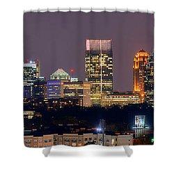 Atlanta Skyline At Night Downtown Midtown Color Panorama Shower Curtain