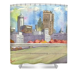 Atlanta Skyline Color Shower Curtain by Scott Serafy
